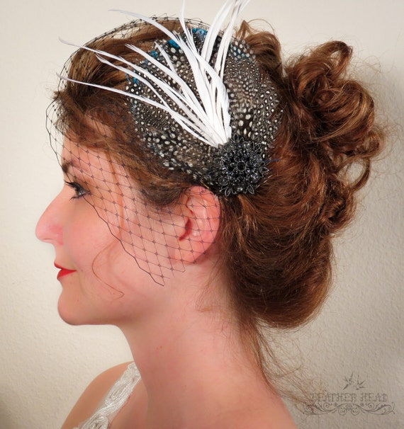 Black and White Fascinator with Black Netting