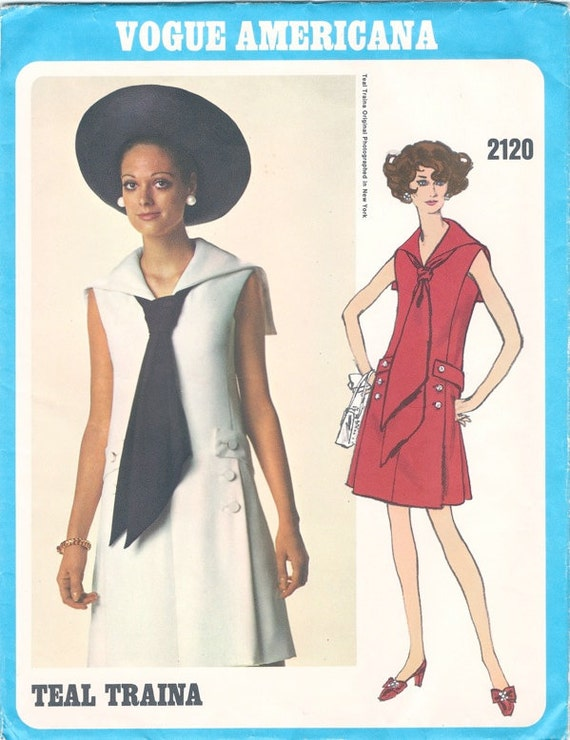 Fab Mod Uncut 1960s Vogue Americana 2120 Teal Traina Sailor Collar Dress Sewing Pattern B36
