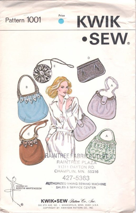 Super Uncut Vintage 1970s Kwik Sew 1001 Purses and Bags Sewing Pattern
