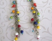 Long Dangle Bead Earrings Red Yellow Blue Green Orange Turquoise Silver Cha Cha Party Earrings