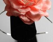 Peach Silk Petal and Pearl flower Headband