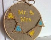 Mr. and Mrs. Decoration on Linen with Burlap Heart Banner in Embroidery Hoop
