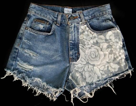 Denim cut offs with lace