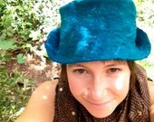 beautiful blue green merino wool wet felted hat with silk spirals