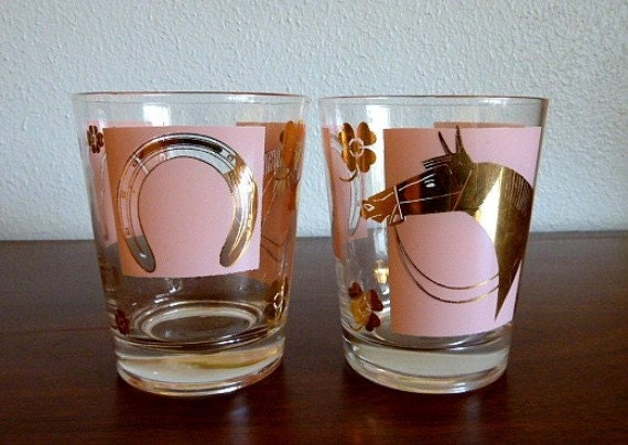 Pair of Vintage Fred Press Pink and Gold Horse Race Glasses