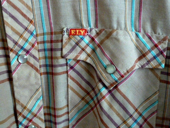 Plaid Western Shirt Pearl Snaps Mens Small
