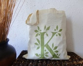 Personalized Leaf Monogram Tote Bag in Olive Green