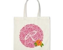 Bridesmaid Tote Bag or Gift Tote Bag - Monogram Circle of Petals Hibiscus Flower Tote Bag in Hot Pink/Light Orange