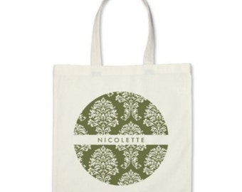 10 Bridesmaids Personalized Damask Totes in Olive Green