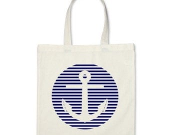Nautical Tote Bag - Stripe Circle Anchor Tote Bag in Navy Blue