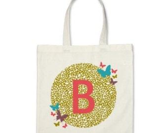 Girl Personalized Tote Bag - Signature Initial Butterflies Tote Bag in Pea Green