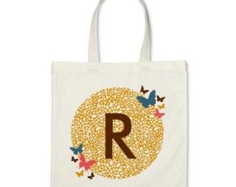 Girl Personalized Tote Bag - Signature Initial Butterflies Tote Bag in Mustard