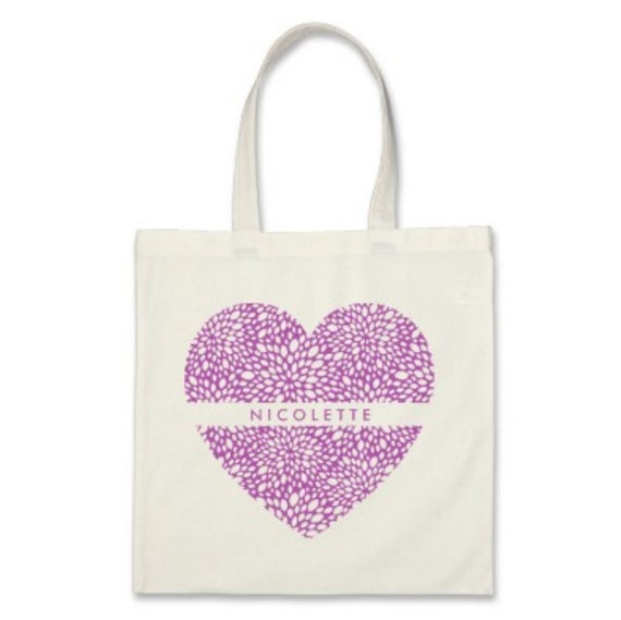 Signature Personalized Heart Tote in Amethyst