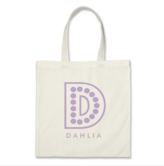 Kid Personalized Monogram with Name Tote Bag or Party Favor in Lavender