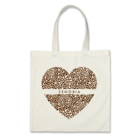 10 Bridesmaids Tote Bags - Signature Personalized Heart Totes in Chocolate