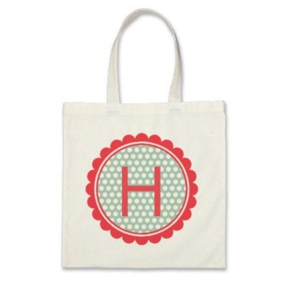 Girl Personalized Tote Bag - Monogram Polka Dot Flower Tote Bag in Coral/Mint Green