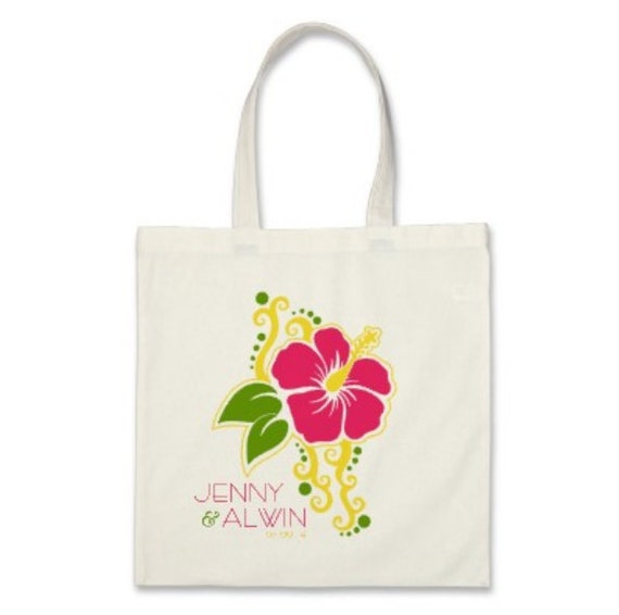 Wedding Welcome Tote Bag or OOT Tote Bag - Personalized Destination Wedding Hibiscus Flower Tote Bag in Hot Pink
