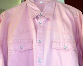 Vintage Men Cowboy Western Shirt In Soft Pink With White Pearl Snaps