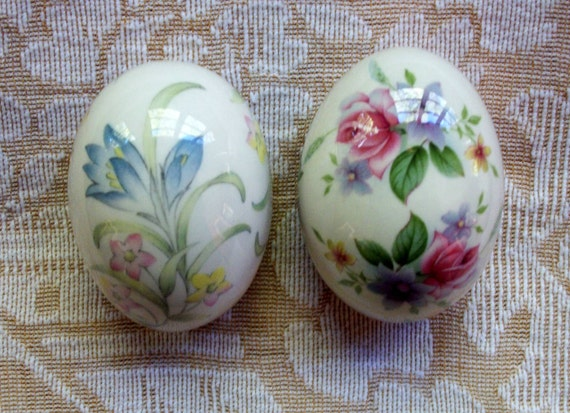 Two Vintage Porcelain Floral Eggs By The By