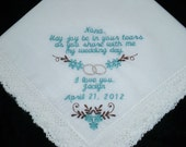 Grandmothers Wedding Handkerchief Personalized With Embroidery For Favor