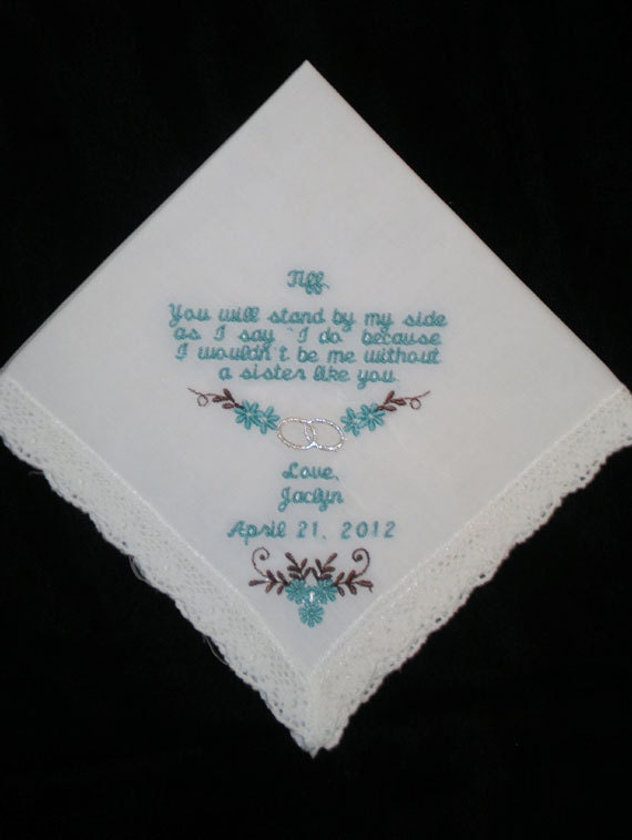 Personalized Sister or Maid of Honor Wedding Handkerchief