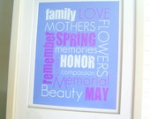 May / Mother's Day Subway Artwork  - Purple White