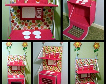 Foldable Kitchen e-pattern. Folding fabric kitchen so you can store it away when not using.