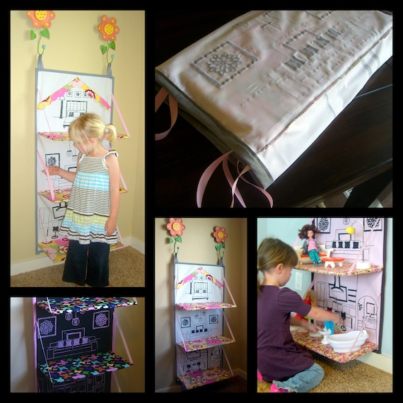 Foldable Doll House e-pattern. Barbie house you can store away when not using.