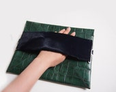 Envelope clutch/ipad sleeve crocodile textured leather Green/Dark Blue only 1 available, ready to ship-