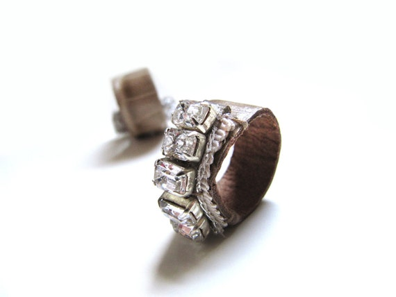 Bling Delicate Garden Upcycled Leather Ring- MADE TO ORDER-