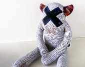 Designer Plush Monster Stuffed Toy - Alphonse: Custom made collage fabric. Limited Edition
