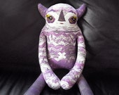 Purple Chevron Ombre Monster Plush -  Custom created collage fabric. Ophelia: deluxe designer toy