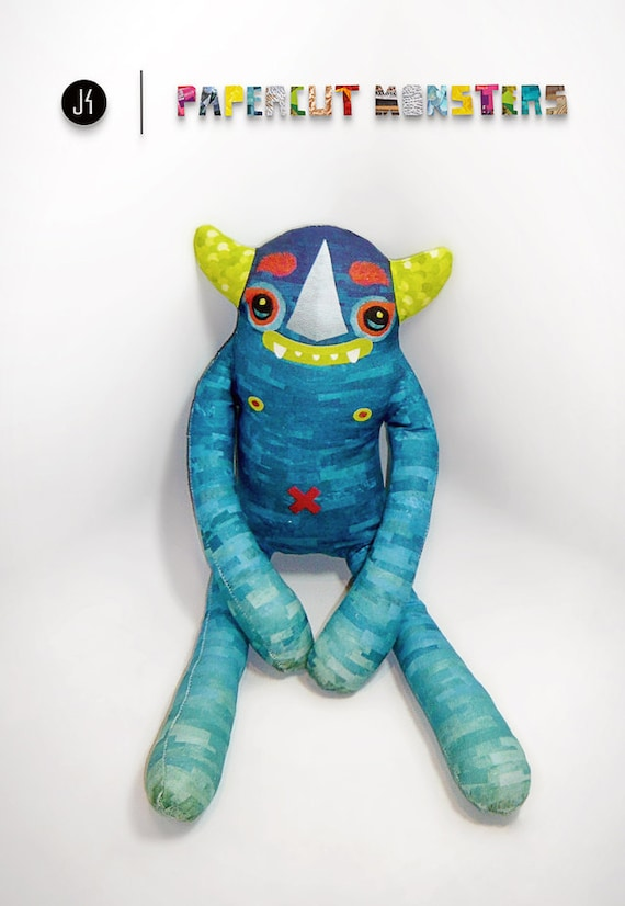 Plush Luchador Gargoyle  - Diego: Designer Stuffed Toy. Custom made fabric monster.
