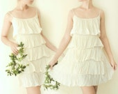 Romantic Layered Ruffle Mini Dress in Off - white, Cyber Monday