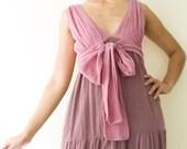 Front Tie Maxi Dress in Sweet Purple, 100% Cotton