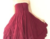 Sale 50% Off, Strapless Ruffle Dress or Maxi Skirt in Red.