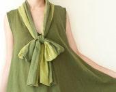 Tie Neck Cotton Comfy Dress in Dark Green