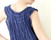 Cotton Spring Summer Dress in Blue