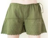 Sale.. Women Drawstring Shorts with Embroidered Rose in Dark Green