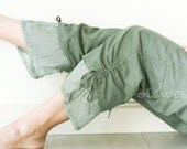 Comfy Drawstring Cotton Pants in Gray - Green