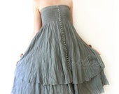 Strapless Ruffle Dress or Maxi Skirt in Gray
