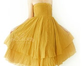 Reserved for sarahkincheloe---Strapless Ruffle Dress or Maxi Skirt in Mustard Yellow