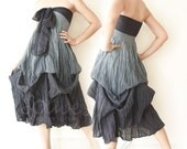 Tie Dyed Romantic Strapless Maxi Dress in Gray-Black