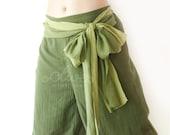 Cotton Elastic Waist Pants in Green