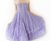 Strapless Ruffle Cotton Dress or Maxi Skirt in Light Violet