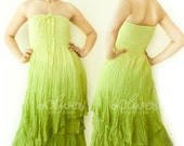 Cyber Monday Sale 70% Off, Strapless Maxi Cotton Dress / Smock Dress in Green