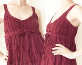 Cotton Crochet Dress in Dark Red