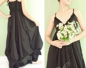 Romantic Maxi Baby Doll Dress in Black, Cotton Fabric, Tie Shoulder Straps