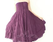 Strapless Ruffle Cotton Dress or Maxi Skirt in Dark Purple
