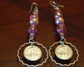 Walking Liberty Silver Earrings WITH Pink glass beads